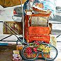 Homme et son orgue de barbarie (et toulouse le chat) - huile sur toile -100 /65 cm