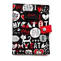 Accessoire Chat Nom Brodé Protège Carnet de Santé/Passeport <b>Love</b> my Cat Gris Rouge