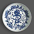 A blue and white dragon dish, Chenghua mark, 18th century