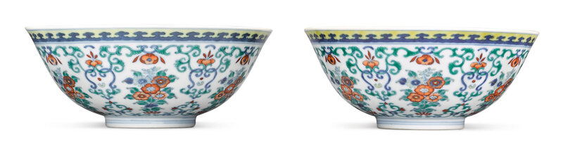 doucai 'Floral' bowls, Jiaqing seals marks and period (1796-1820)
