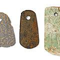 Three <b>hardstone</b> axes, Southeast China, 4th-3rd millennium BC