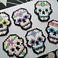 Funny skulls en perles hama pour halloween