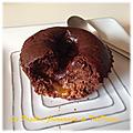 Muffins au chocolat & son cœur passion [sans beurre ni sucre]