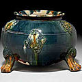 A blue and sancai-glazed pottery tripod censer, Tang dynasty (618-907)