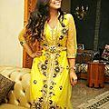 <b>Caftan</b> haute couture <b>jaune</b> perlé 2014