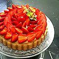 Tarte aux fraises sur biscuit namandier