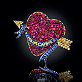 The Millicent Rogers Heart Brooch: A ruby, sapphire, and colored diamond enamel brooch, by Paul Flato