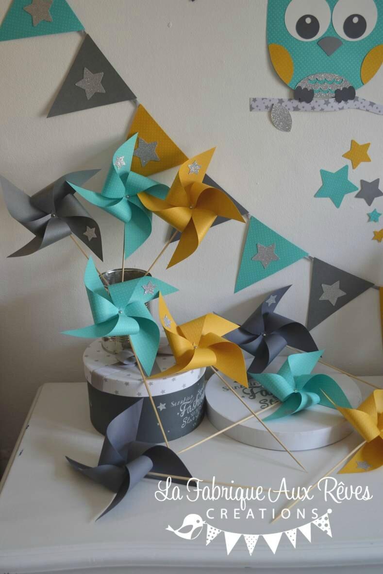 moulins à vent jaune moutarde turquoise caraïbe gris argenté ...