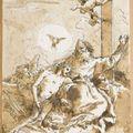 Giandomenico tiepolo (venise, 1727 - 1804), la trinité & garçon en train de traire une vache