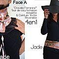 Cravate/ tour de Cou & Ceinture Reversible Chic et Précieuse : Rose Poudré satiné et imprimé coeur noir/blanc et Volant d'Organza