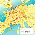 Map of flight corridors in Western Europe with amount of traffic