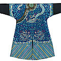 An extremely rare embroidered blue silk dragon robe, jifu, Early Guangxu period, <b>circa</b> <b>1885</b>