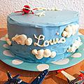 <b>Gâteau</b> d'anniversaire 4 ans Louis, la tête dans les nuages et surprise à la découpe