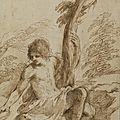 <b>Giovanni</b> <b>Francesco</b> <b>Barbieri</b> dit le Guerchin (Cento 1591 – Bologne 1666), Saint Jean Baptiste assis au pied d'un arbre