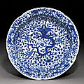A blue and white lobed 'dragon' basin, mark and period of wanli (1573-1620)