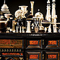 From a private european collection. a set of turned and carved ivory, ebony and lignum vitae objects at sotheby's paris
