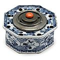 Chinese blue and white porcelain <b>inkstand</b>, late Ming dynasty