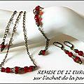 Parure <b>bijoux</b> mode rétro tendance baroque, perles à facettes rouges et chaine <b>laiton</b>
