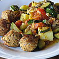 Poêlée de légumes, polenta et boulettes de soja...