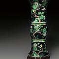 A famille noire <b>beaker</b> vase, Kangxi period (1662-1722)