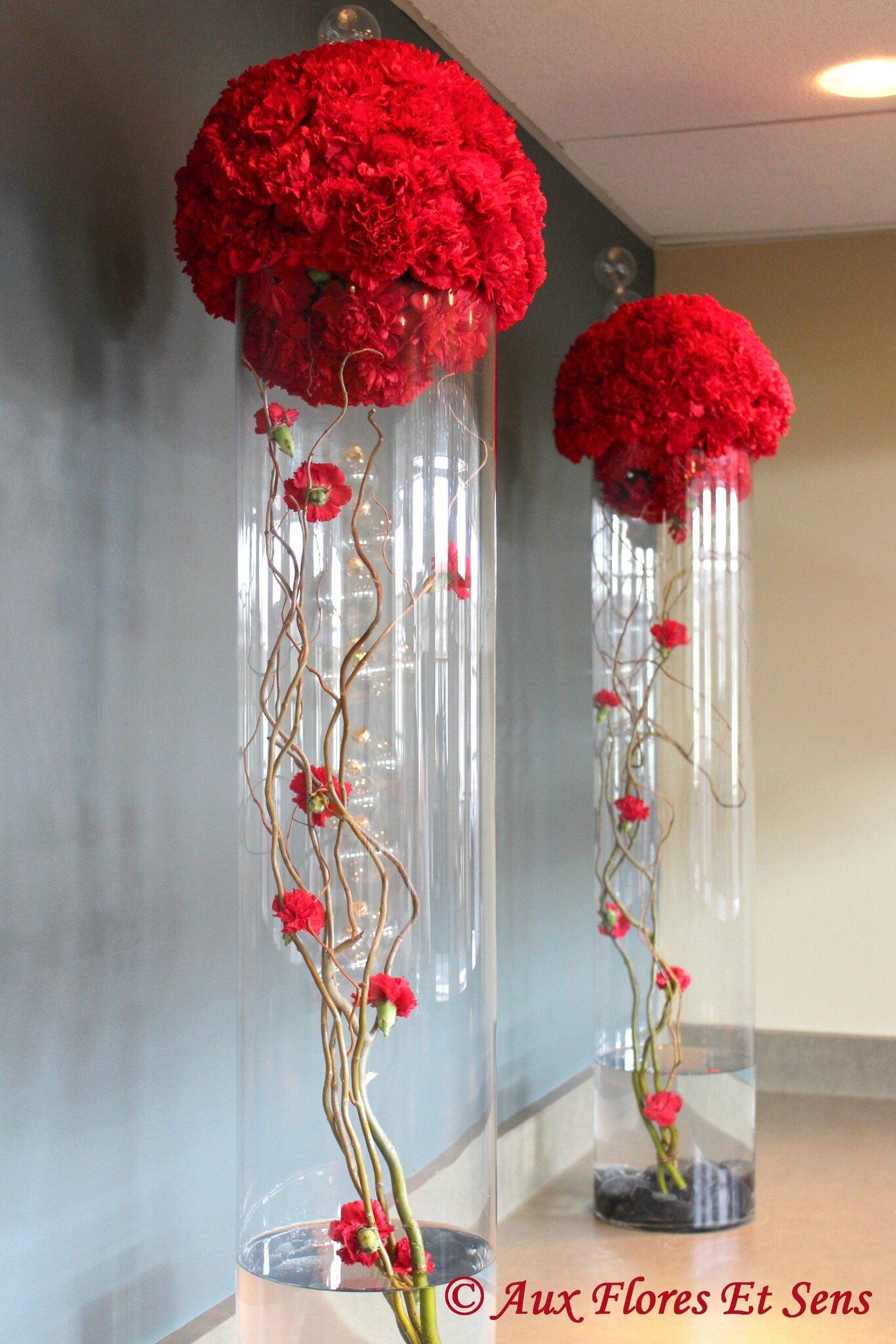 Décor d'entrée Dianthus rouge