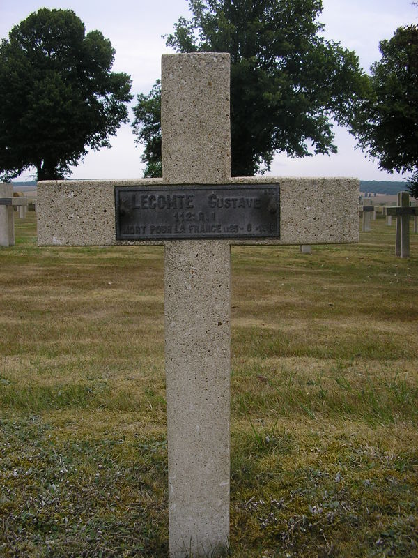 Grandcamp sépulture Gustave Lecomte NN Avocourt