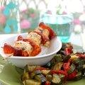 Brochette de lotte au chorizo et fondue de courgettes {recette de poisson facile}