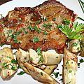 Echine de porc et petits artichauts marinés à la plancha