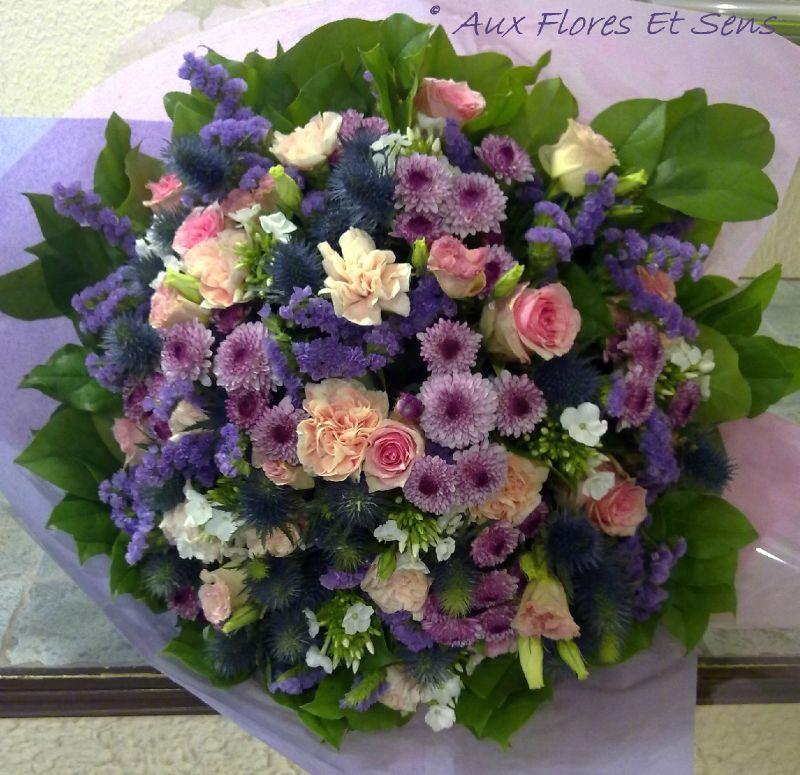 Bouquet Rond Rose,Parme et Violine
