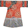 An embroidered silk <b>lady</b>'<b>s</b> informal court robe, Qing dynasty, late 19th century