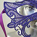masque venitien dentelle violet amd a coudre