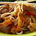 Wok de spaghettis de légumes et lanières de boeuf, nouilles sautées (cyril lignac)