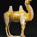 A large ochre and cream-glazed pottery figure of a <b>Bactrian</b> <b>camel</b>, Tang dynasty (AD 618-907)
