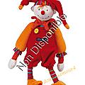 Doudou <b>Dragobert</b> Moulin Roty Rouge Orange 30 cm