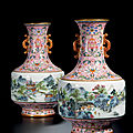 A superb pair of <b>pink</b>-ground famille-rose 'Landscape' vases, seal marks and of the period of Qianlong (1736-1795)