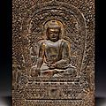 A very rare gilded and painted limestone Buddhist plaque, <b>late</b> <b>Yuan</b>-<b>early</b> <b>Ming</b> <b>dynasty</b>, <b>late</b> 14th century