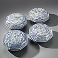 Four octagonal blue and white boxes and covers, transitional period, circa 1640