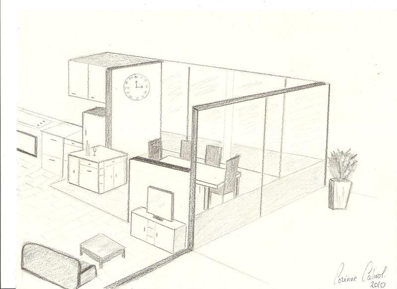 Croquis salon salle manger en perspective decor 39 in for Croquis de salle de bain