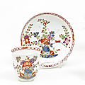 Small Cup and Saucer, Decor with <b>Table</b> <b>Design</b>. Meissen. Circa 1735