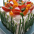 Sandwich-cake au saumon fumé et concombre