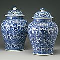 Two blue and white baluster jars and covers, qing dynasty, kangxi period (1662-1722)