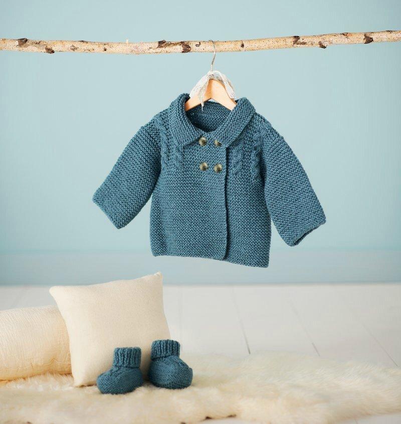Veste caban pour bébé et chaussons assortis