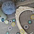 guirlande étoiles pastille cousue rond papier carton turquoise vert anis gris clair gris foncé décoration chambre enfant bébé garçon baptême mariage anniversaire 2