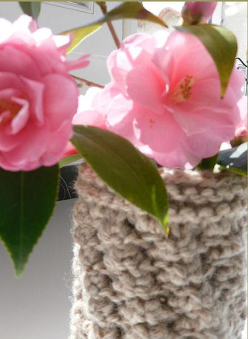 vase récup et tricot