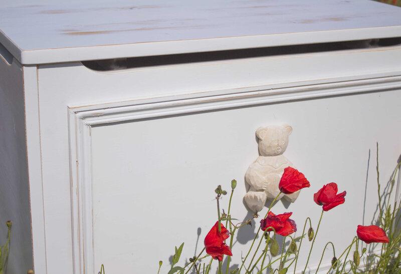 Coffre Provence ours et coquelicots