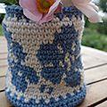 cache pot bleu fleur sept 16