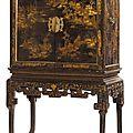 Cabinet en bois noirci et panneaux de laque de la chine. époque qianlong, fin xvii° siècle