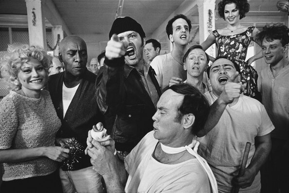 The Cast of One Flew Over the Cuckoo's Nest Posing for their Photograph on Location at the Oregon State Hospital SalemOregon 1974