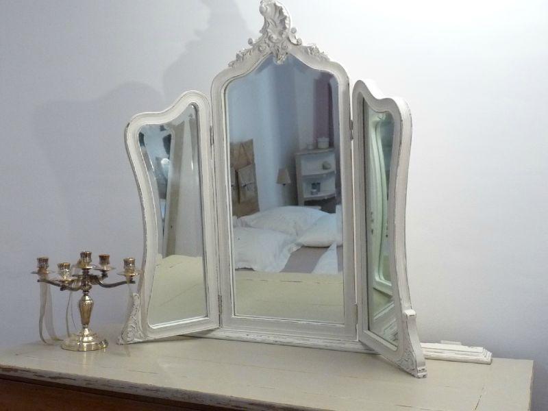 miroir triptyque ancien - gris lapin