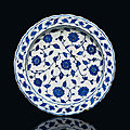 An iznik blue and white pottery dish, ottoman turkey, circa 1560